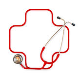 Medical cross symbol. Formed from a stethoscope on a white background Royalty Free Stock Photo