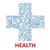 Medical cross symbol made of blue medicine icons Stock Photos