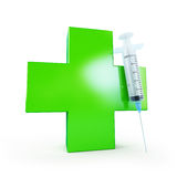 Medical cross and syringe. On a white background Royalty Free Stock Photos