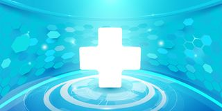 Medical cross and technology digital hi tech concept background. Illustration vector Stock Photo
