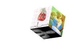 Medical Cube-Isolated. Medical Cube with 3 photos:1)Real EKG with a model heart. 2)MRI of a male human. 3) Prescription Pills (8MP camera, isolated Stock Photo