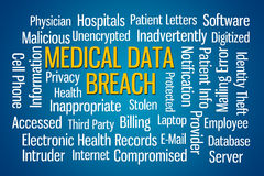 Medical Data Breach. Word cloud on blue background Royalty Free Stock Photo