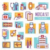 Medical Decorative Line Icons Set Stock Photo