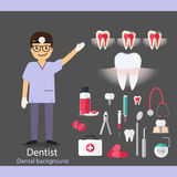 Medical dental background. Dentist with teeth, drugs, dentist to Stock Photo