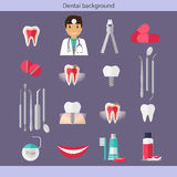 Medical dental background. Dentist with teeth, drugs, dentist to Stock Photos