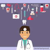 Medical dental background. Dentist with teeth, drugs, dentist to Royalty Free Stock Image
