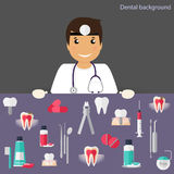 Medical dental background. Dentist with teeth, drugs, dentist to Royalty Free Stock Photos