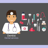Medical dental background. Dentist with teeth, drugs, dentist to Royalty Free Stock Photo