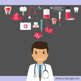 Medical dental background. Dentist with teeth, drugs, dentist to Royalty Free Stock Images