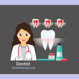 Medical dental background. Dentist with teeth. Vector illustrati Royalty Free Stock Photography