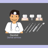 Medical dental background. Dentist with teeth. Vector illustrati Stock Photos