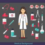 Medical dental background design. Dentist with teeth, drugs, den Stock Image