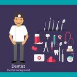 Medical dental background design. Dentist with teeth, drugs, den Stock Photo