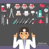 Medical dental background design. Dentist with teeth, drugs, den Royalty Free Stock Photos