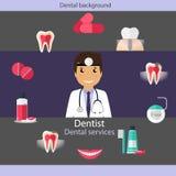 Medical dental background design. Dentist with teeth, drugs, den Stock Photos