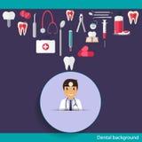 Medical dental background design. Dentist with teeth, drugs, den Stock Photography
