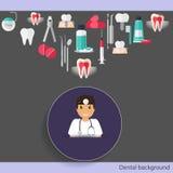 Medical dental background design. Dentist with teeth, drugs, den Royalty Free Stock Image