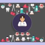 Medical dental background design. Dentist with teeth, drugs, den Stock Images