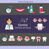 Medical dental background design. Dentist with teeth, drugs, den Royalty Free Stock Photography