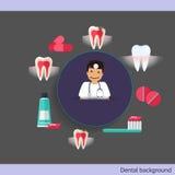 Medical dental background design. Dentist with teeth, drugs, den Royalty Free Stock Photo