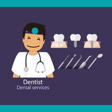 Medical dental background design. Dentist with teeth. Vector ill Stock Photography