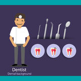 Medical dental background design. Dentist with teeth. Vector ill Stock Image