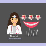 Medical dental background design. Dentist with teeth. Vector ill Royalty Free Stock Photos