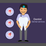 Medical dental background design. Dentist with teeth. Vector ill Stock Images