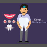 Medical dental background design. Dentist with teeth. Vector ill Royalty Free Stock Photography