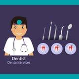 Medical dental background design. Dentist with teeth. Vector ill Stock Photos