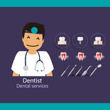 Medical dental background design. Dentist with teeth. Vector ill Royalty Free Stock Images