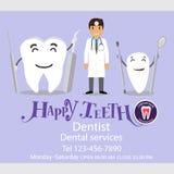 Medical dental background design. Dentist with teeth. Vector ill royalty free illustration