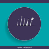 Medical dental background design with dentist tools and instrume Stock Photography