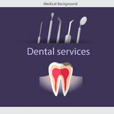 Medical dental background. Teeth, dentist tools and instruments. Vector illustration Stock Photo