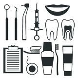 Medical dental equipment icons set in flat style Royalty Free Stock Photography