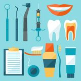 Medical dental equipment icons set in flat style Royalty Free Stock Photos