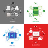 Medical Design Concept Icons Set. Medical design concept line icons set with research first aid diagnostics and pharmacy symbols flat  vector illustration Stock Photos