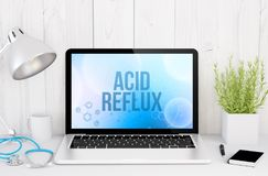 medical desktop computer with acid reflux on screen Stock Photo