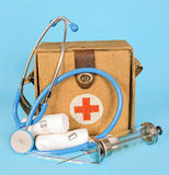 Medical device. Medical emergency service on blue background royalty free stock photography