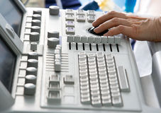 Medical device keyboard with doctor's hand Royalty Free Stock Photos