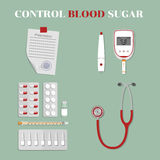 Medical devices and drugs. monitoring of blood glucose Stock Photo