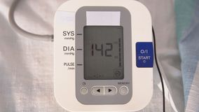 Medical devices. Electronic pressure gauge during operation.  stock video