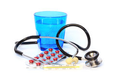 Medical devices, medicines and water Stock Photography