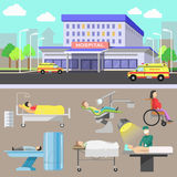 Medical diagnostic equipment and medical staff. Medical illustration with hospital and ambulance car. Medicine and healthcare concept with diagnostic equipment Stock Photo