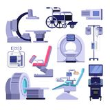Medical diagnostic examination equipment. Vector illustration of MRI, gynecology and dentist chair, ultrasound machine. Medical diagnostic and examination royalty free illustration