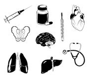 Medical diagnostic icons set. Health symbol, science laboratory. Vector illustration Royalty Free Stock Images