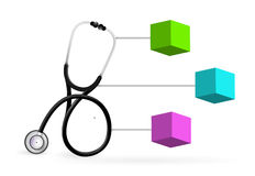 Medical diagram with a Stethoscope Royalty Free Stock Photo