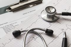 Medical diagram and stethoscope. Medical cardiovascular photography clipboard form file Royalty Free Stock Photography