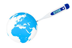 Medical digital thermometer with Earth Royalty Free Stock Images