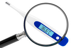 Medical digital thermometer with magnifier Royalty Free Stock Image